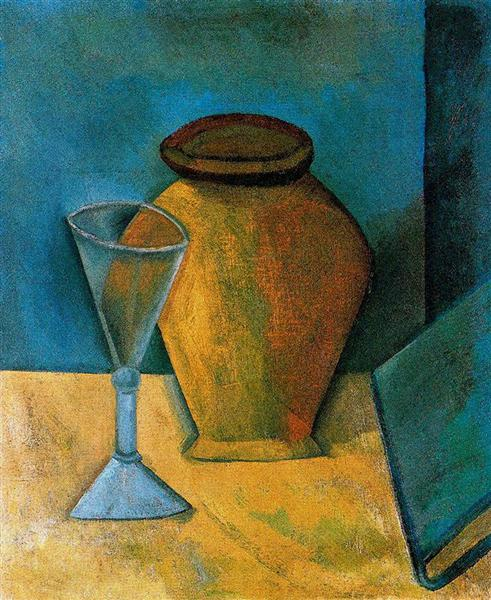 Pablo Picasso Classical Oil Paintings Pot,Glass And Book