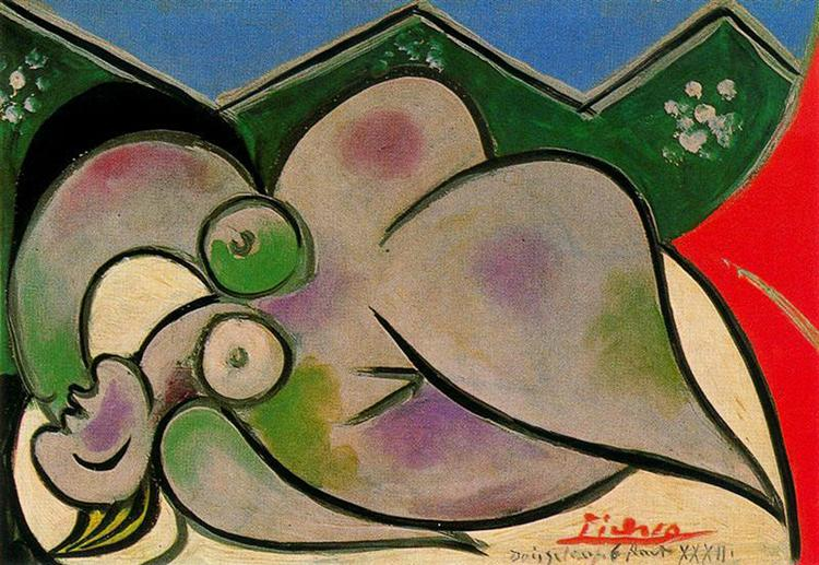 Pablo Picasso Oil Painting Reclining Nude Surrealism