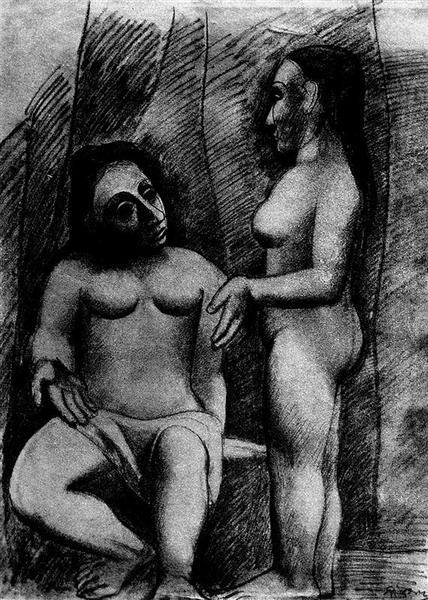 Pablo Picasso Oil Painting Seated Nude And Standing Nude