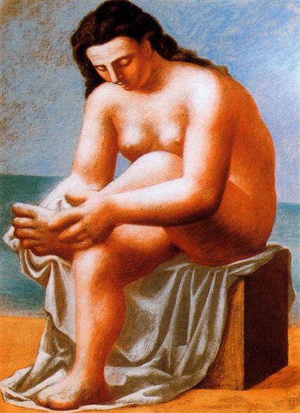 Pablo Picasso Classical Oil Painting Seated Nude Drying Her Feet