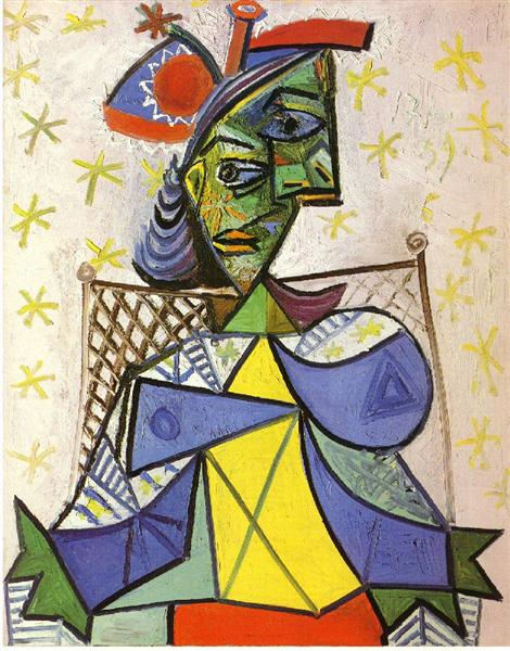 Pablo Picasso Oil Paintings Seated Woman With Blue And Red Hat