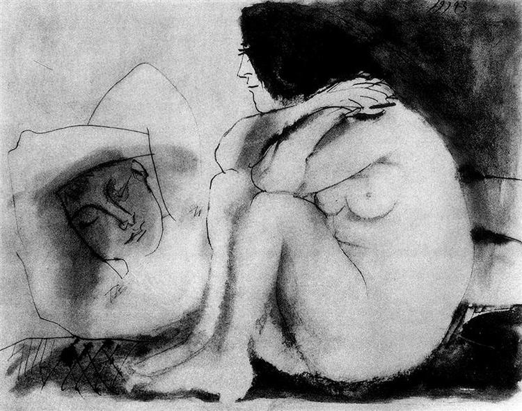 Pablo Picasso Oil Painting Sleeping Man And Sitting Woman