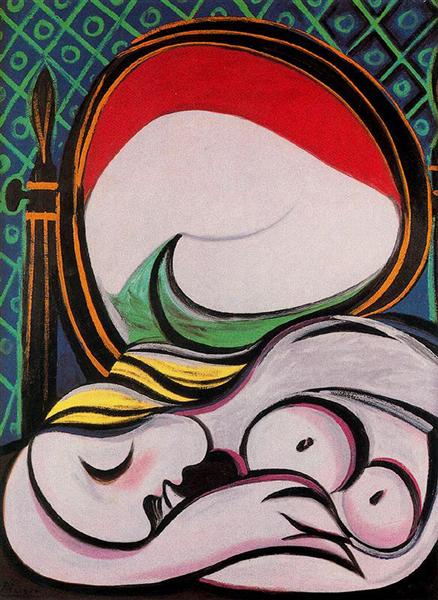 Pablo Picasso Classical Oil Painting The Mirror And Female Nude