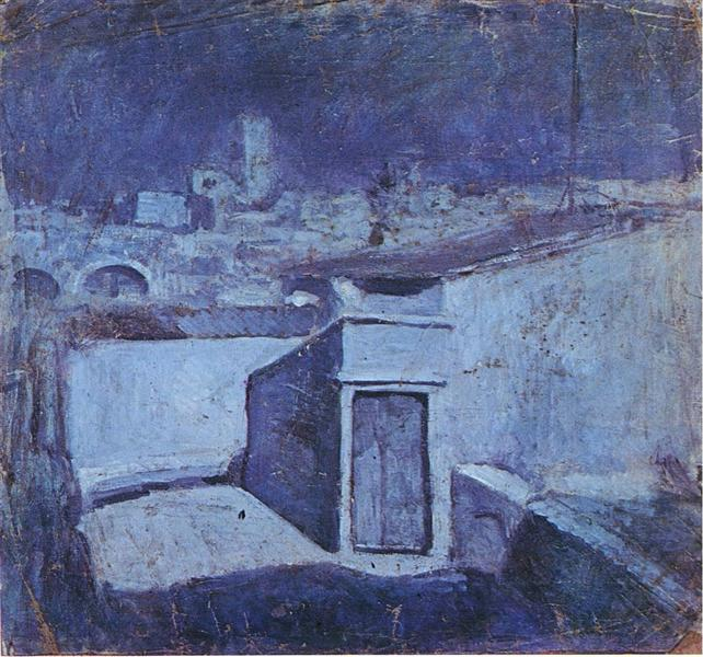Pablo Picasso Painting The Roofs Of Barcelona In The Moonlight