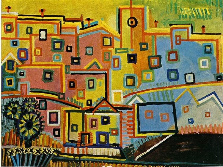 Picasso Painting Untitled Houses And Buildings Expressionism