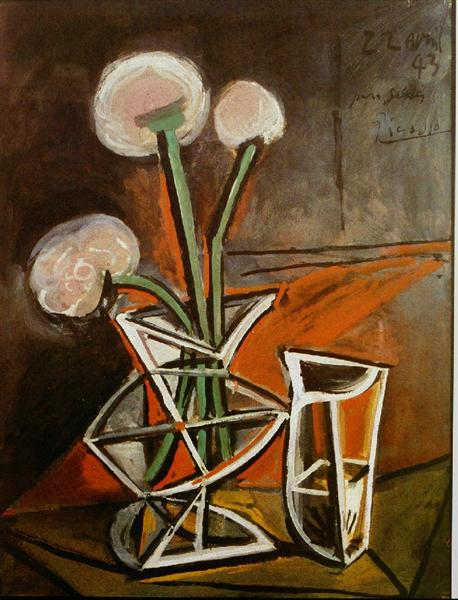 Pablo Picasso Classical Oil Paintings Vase With Flowers