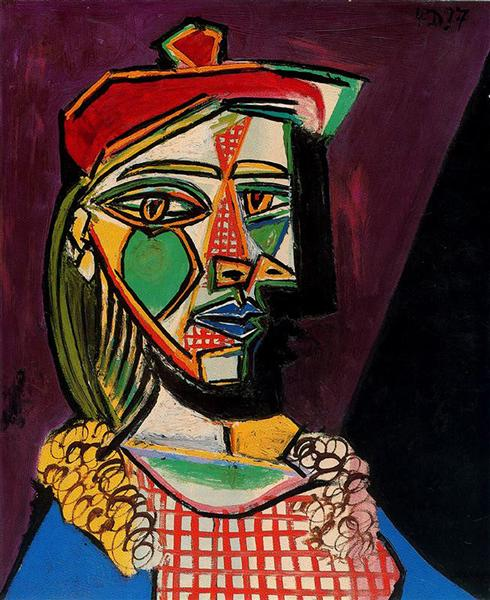 Pablo Picasso Paintings Woman In Beret And Checked Dress