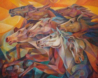 Dafen Oil Painting on canvas -horse056