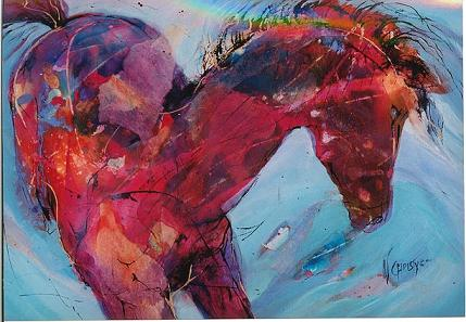 Dafen Oil Painting on canvas -horse073
