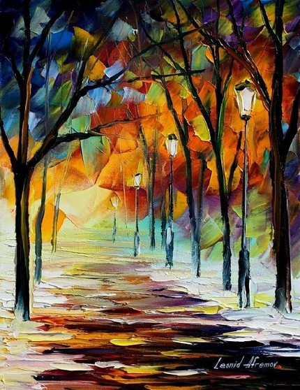 Modern impressionism palette knife oil painting kp044