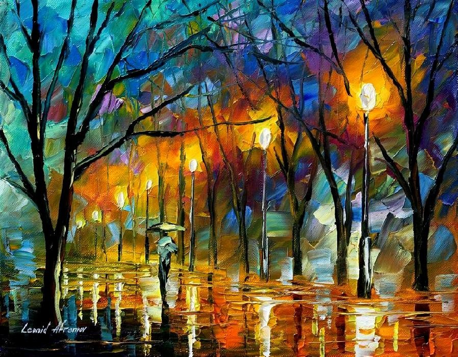 Modern impressionism palette knife oil painting kp084