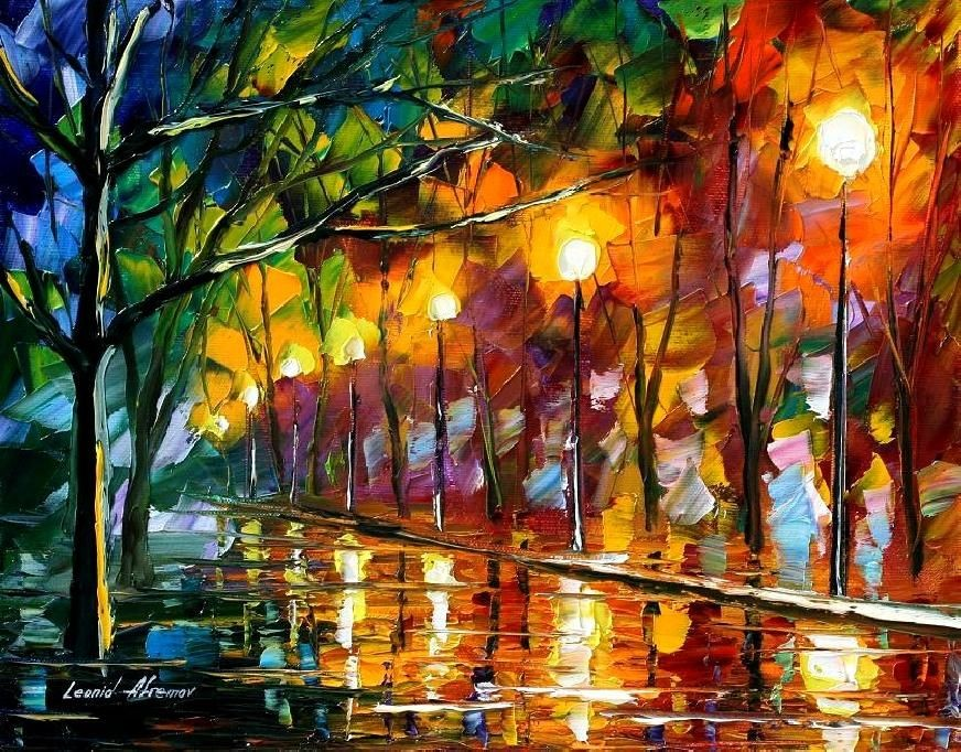 Modern impressionism palette knife oil painting kp128