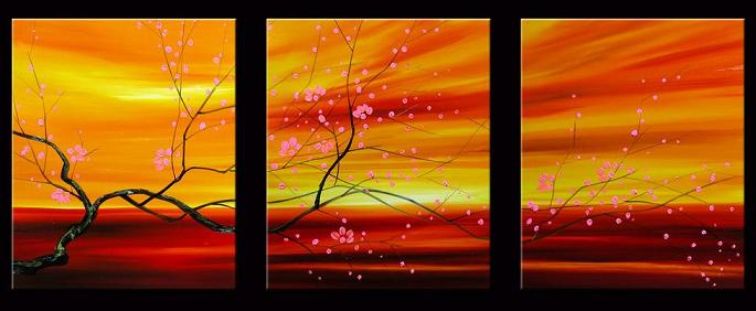 Dafen Oil Painting on canvas red flowers -set013