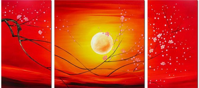 Dafen Oil Painting on canvas red flower paintings -set017