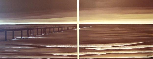 Dafen Oil Painting on canvas long bridge-set038