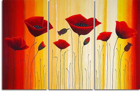 Dafen Oil Painting on canvas red flower -set176