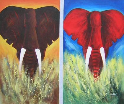 Dafen Oil Painting on canvas elephant-set225