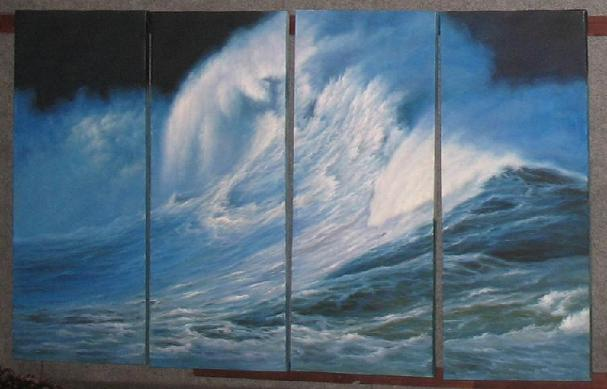 Dafen Oil Painting on canvas ocean wave -set507